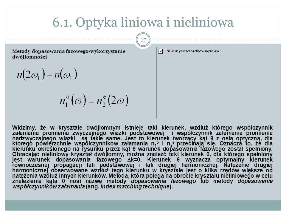 6.1. Optyka liniowa i nieliniowa Metody dopasowania fazowego-wykorzystanie dwójłomności Widzimy, że w krysztale dwójłomnym istnieje taki kierunek, wzd