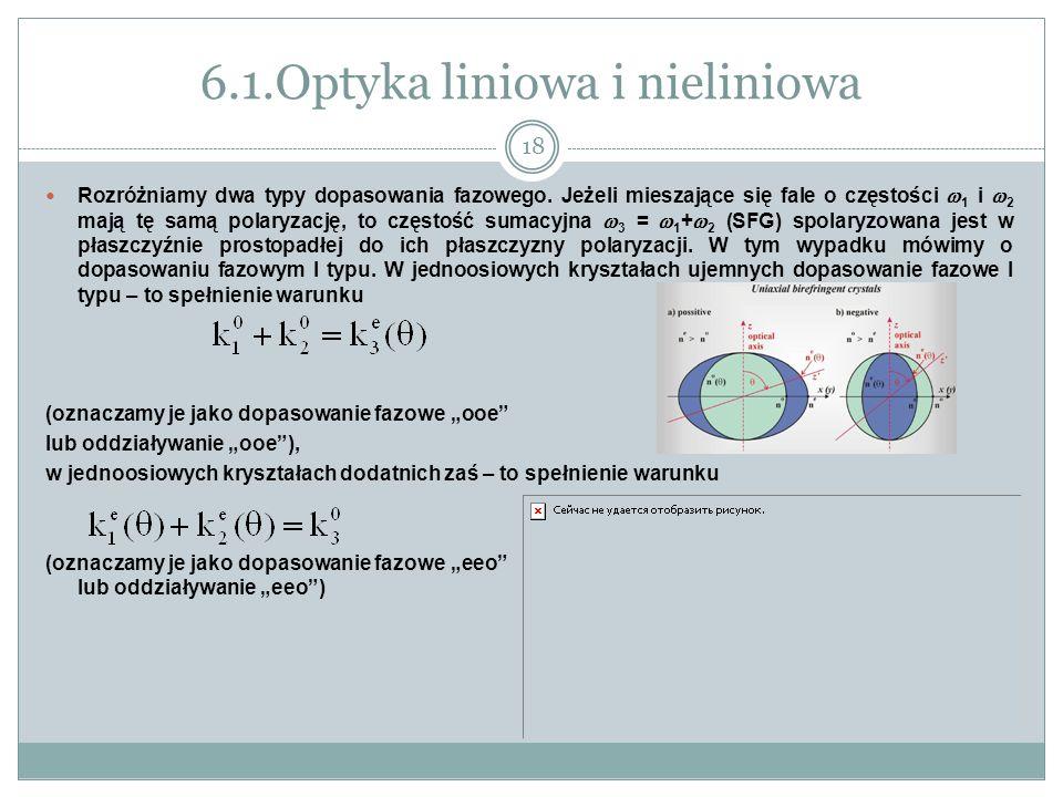 6.1.Optyka liniowa i nieliniowa Rozróżniamy dwa typy dopasowania fazowego. Jeżeli mieszające się fale o częstości 1 i 2 mają tę samą polaryzację, to c