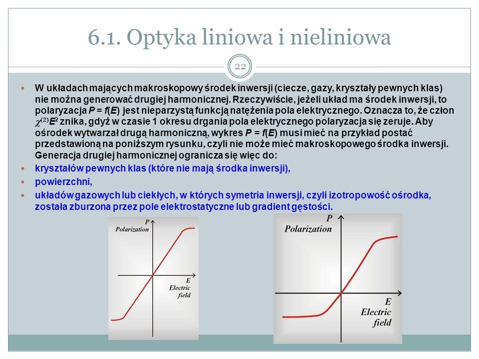 6.1. Optyka liniowa i nieliniowa W układach mających makroskopowy środek inwersji (ciecze, gazy, kryształy pewnych klas) nie można generować drugiej h