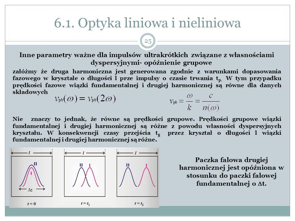 6.1. Optyka liniowa i nieliniowa Inne parametry ważne dla impulsów ultrakrótkich związane z własnościami dyspersyjnymi- opóźnienie grupowe załóżmy że