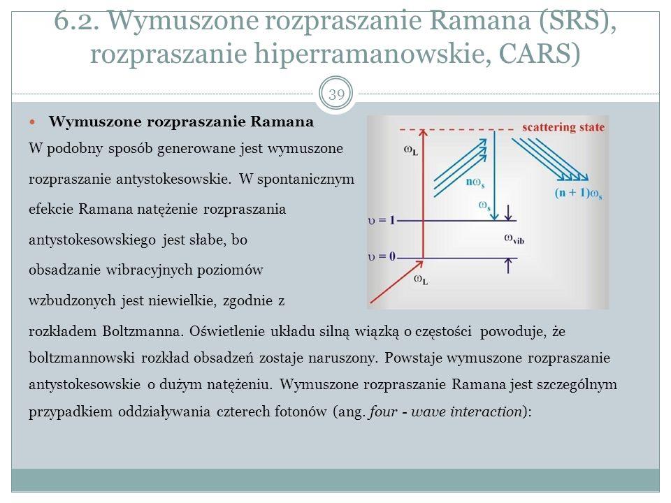 6.2. Wymuszone rozpraszanie Ramana (SRS), rozpraszanie hiperramanowskie, CARS) Wymuszone rozpraszanie Ramana W podobny sposób generowane jest wymuszon