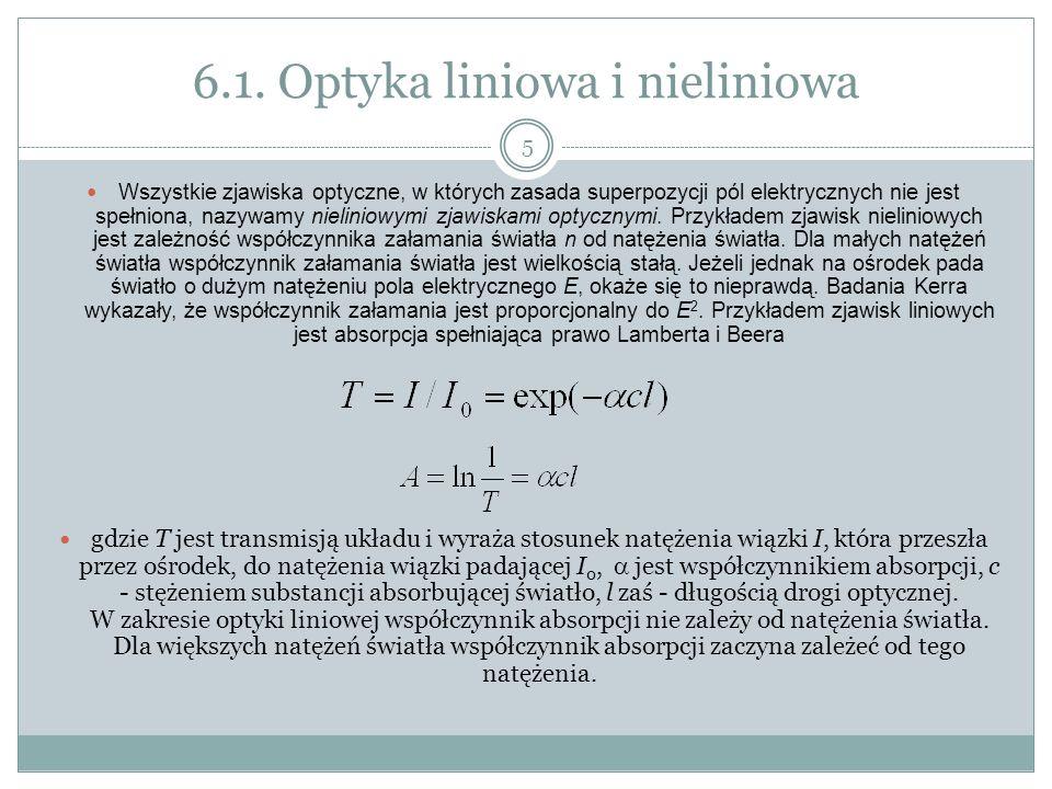 6.1. Optyka liniowa i nieliniowa Wszystkie zjawiska optyczne, w których zasada superpozycji pól elektrycznych nie jest spełniona, nazywamy nieliniowym