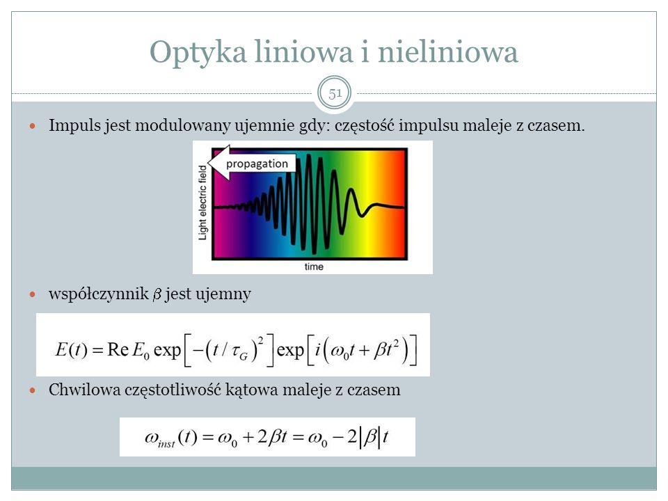 Optyka liniowa i nieliniowa Impuls jest modulowany ujemnie gdy: częstość impulsu maleje z czasem. współczynnik jest ujemny Chwilowa częstotliwość kąto