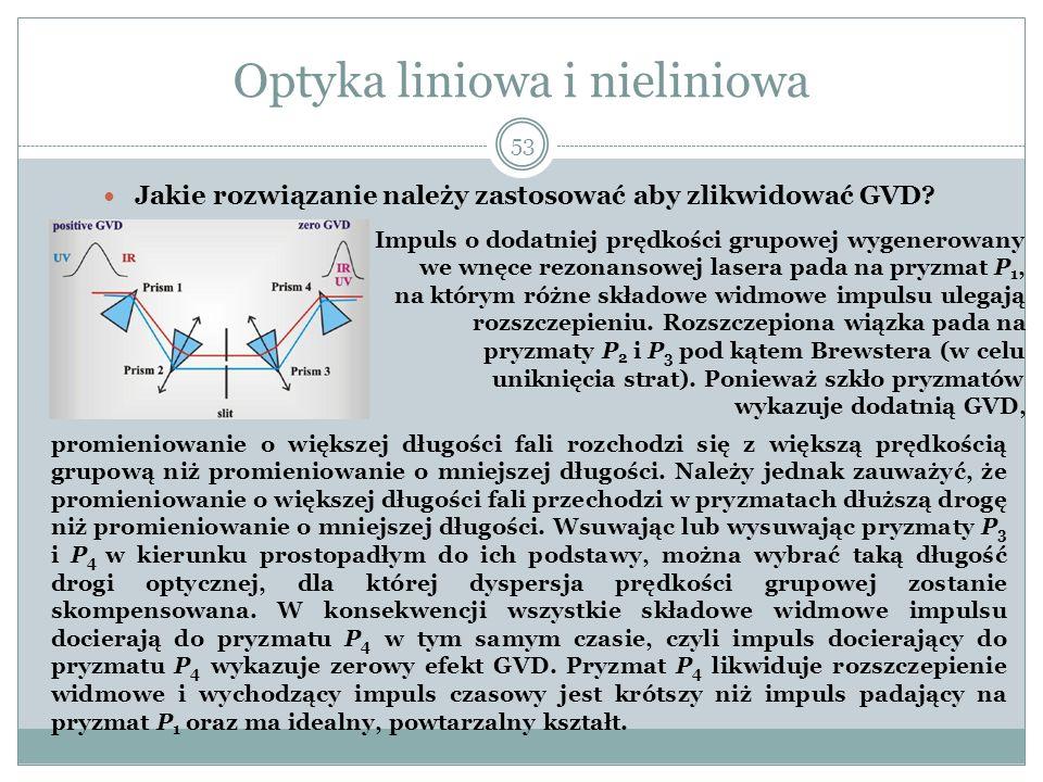 Optyka liniowa i nieliniowa Jakie rozwiązanie należy zastosować aby zlikwidować GVD? 53 promieniowanie o większej długości fali rozchodzi się z większ