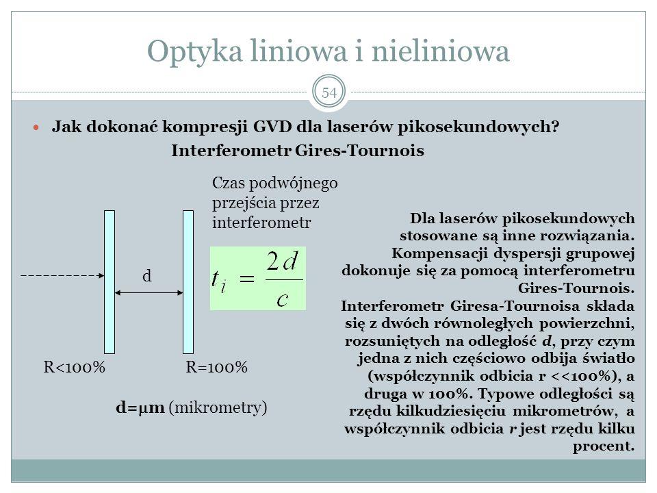 Optyka liniowa i nieliniowa Jak dokonać kompresji GVD dla laserów pikosekundowych? Interferometr Gires-Tournois Czas podwójnego przejścia przez interf