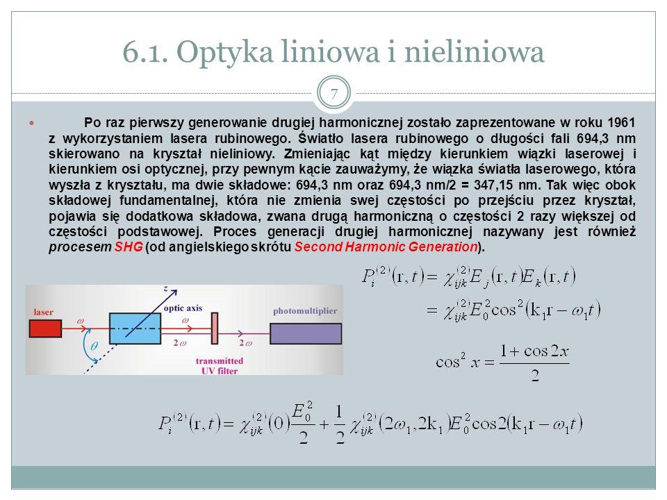 6.1. Optyka liniowa i nieliniowa Po raz pierwszy generowanie drugiej harmonicznej zostało zaprezentowane w roku 1961 z wykorzystaniem lasera rubinoweg