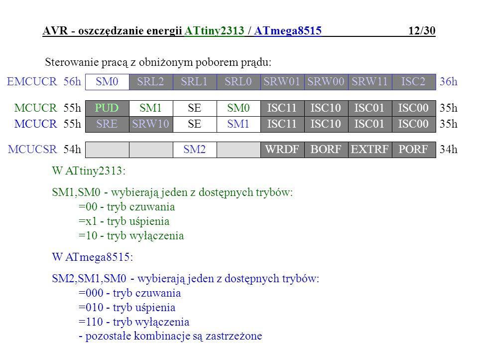 AVR - oszczędzanie energii ATtiny2313 / ATmega8515 12/30 Sterowanie pracą z obniżonym poborem prądu: W ATtiny2313: SM1,SM0 - wybierają jeden z dostępn