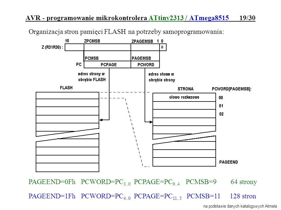 AVR - programowanie mikrokontrolera ATtiny2313 / ATmega8515 19/30 Organizacja stron pamięci FLASH na potrzeby samoprogramowania: PAGEEND=0Fh PCWORD=PC