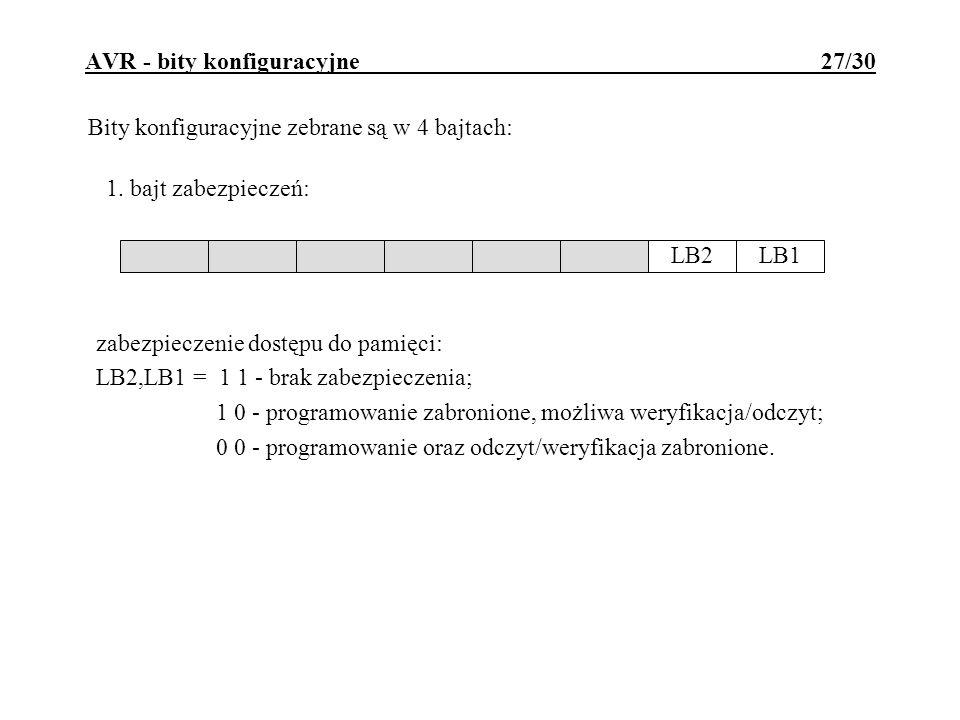 AVR - bity konfiguracyjne 27/30 Bity konfiguracyjne zebrane są w 4 bajtach: zabezpieczenie dostępu do pamięci: LB2,LB1 = 1 1 - brak zabezpieczenia; 1