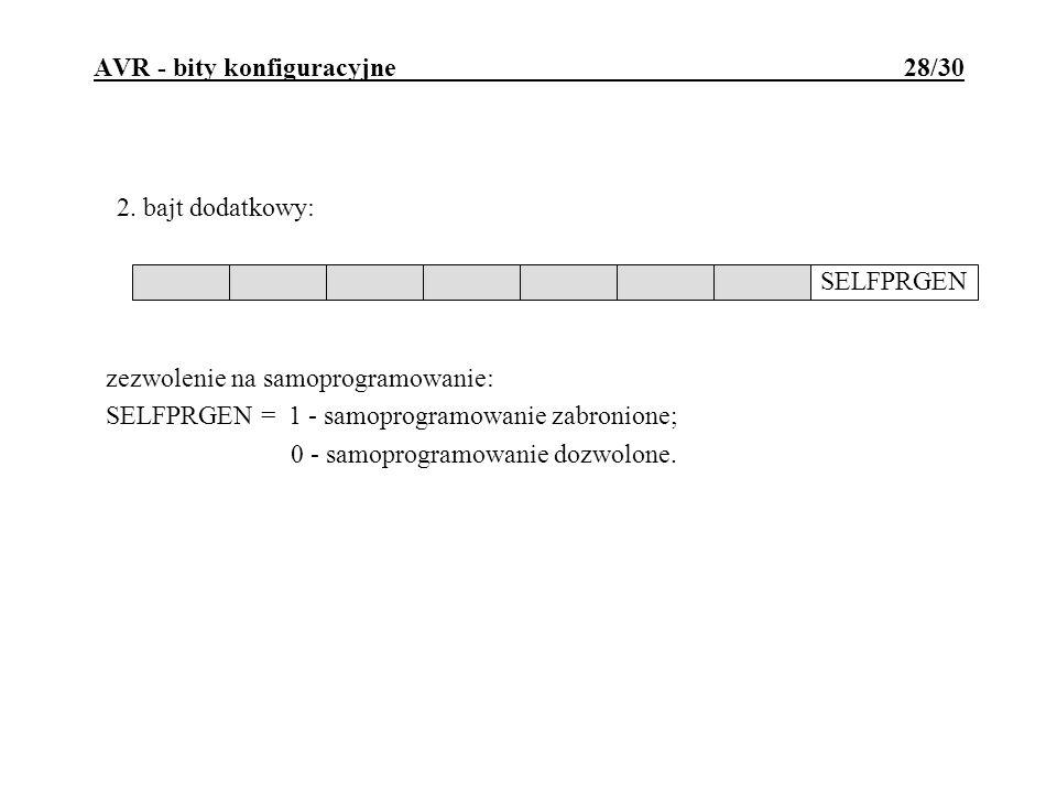 AVR - bity konfiguracyjne 28/30 zezwolenie na samoprogramowanie: SELFPRGEN = 1 - samoprogramowanie zabronione; 0 - samoprogramowanie dozwolone. SELFPR