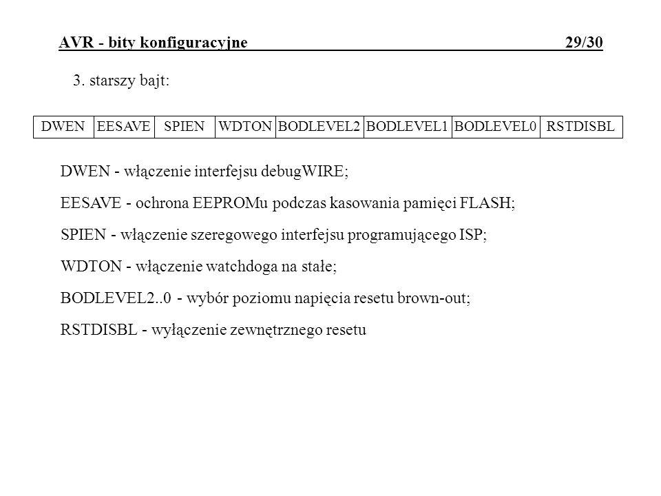 AVR - bity konfiguracyjne 29/30 DWEN - włączenie interfejsu debugWIRE; EESAVE - ochrona EEPROMu podczas kasowania pamięci FLASH; SPIEN - włączenie sze