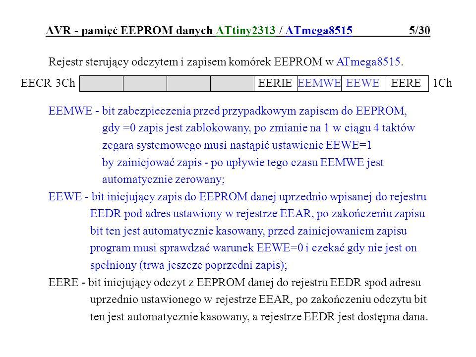 AVR - pamięć EEPROM danych ATtiny2313 / ATmega8515 6/30 Rejestr sterujący odczytem i zapisem komórek EEPROM w ATtiny2313.