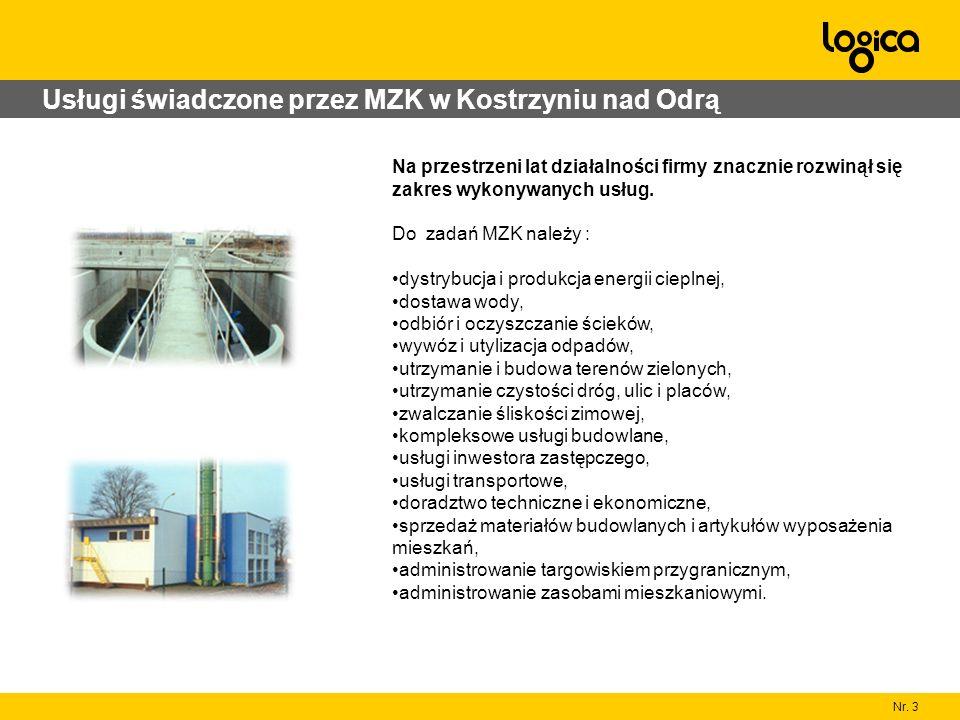 Nr. 3 Usługi świadczone przez MZK w Kostrzyniu nad Odrą Na przestrzeni lat działalności firmy znacznie rozwinął się zakres wykonywanych usług. Do zada