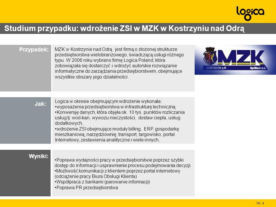 Nr. 4 Studium przypadku: wdrożenie ZSI w MZK w Kostrzyniu nad Odrą MZK w Kostrzynie nad Odrą jest firmą o złożonej strukturze przedsiębiorstwa wielobr