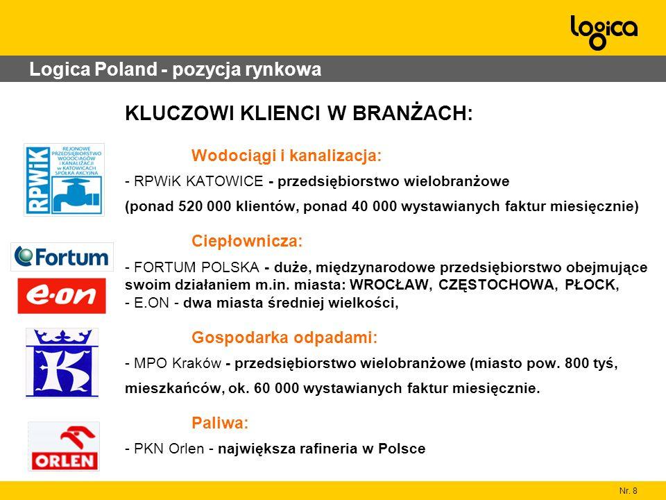 Nr. 8 Logica Poland - pozycja rynkowa KLUCZOWI KLIENCI W BRANŻACH: Wodociągi i kanalizacja: - RPWiK KATOWICE - przedsiębiorstwo wielobranżowe (ponad 5