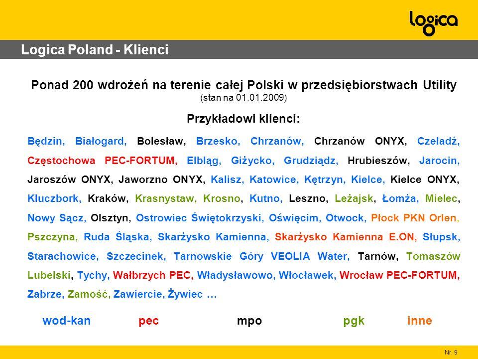 Nr. 9 Logica Poland - Klienci Ponad 200 wdrożeń na terenie całej Polski w przedsiębiorstwach Utility (stan na 01.01.2009) Przykładowi klienci: Będzin,