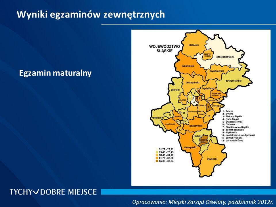Wyniki egzaminów zewnętrznych Opracowanie: Miejski Zarząd Oświaty, październik 2012r. Egzamin maturalny