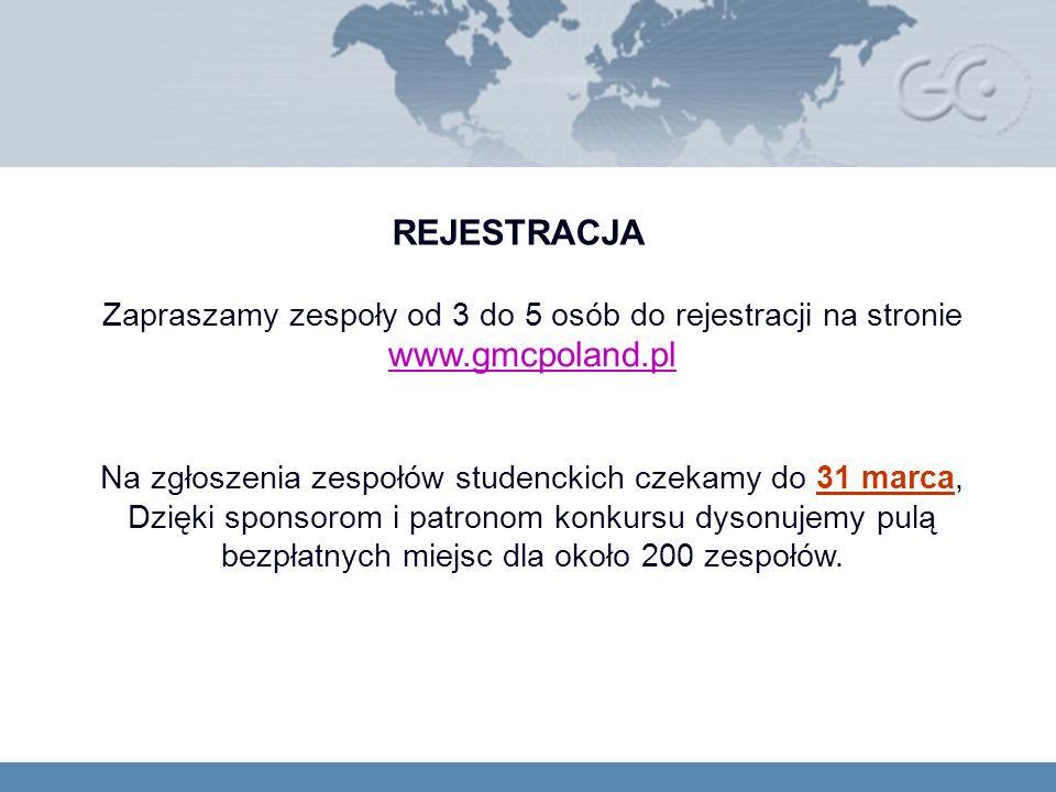 REJESTRACJA Zapraszamy zespoły od 3 do 5 osób do rejestracji na stronie www.gmcpoland.pl www.gmcpoland.pl Na zgłoszenia zespołów studenckich czekamy do 31 marca, Dzięki sponsorom i patronom konkursu dysonujemy pulą bezpłatnych miejsc dla około 200 zespołów.