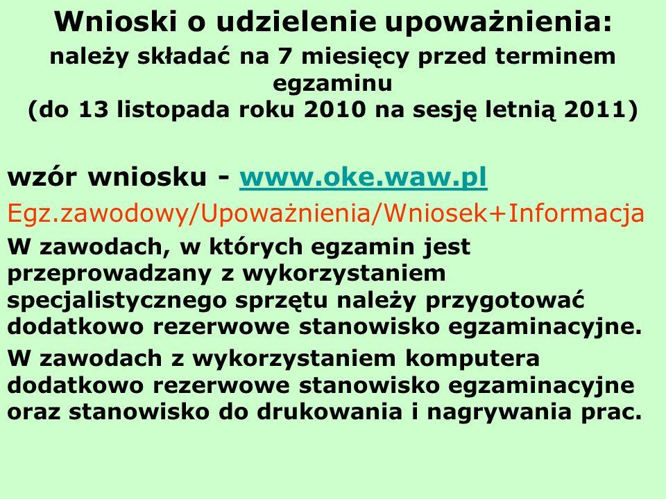 Wnioski o udzielenie upoważnienia: należy składać na 7 miesięcy przed terminem egzaminu (do 13 listopada roku 2010 na sesję letnią 2011) wzór wniosku - www.oke.waw.plwww.oke.waw.pl Egz.zawodowy/Upoważnienia/Wniosek+Informacja W zawodach, w których egzamin jest przeprowadzany z wykorzystaniem specjalistycznego sprzętu należy przygotować dodatkowo rezerwowe stanowisko egzaminacyjne.