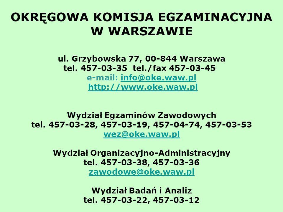 OKRĘGOWA KOMISJA EGZAMINACYJNA W WARSZAWIE ul.Grzybowska 77, 00-844 Warszawa tel.