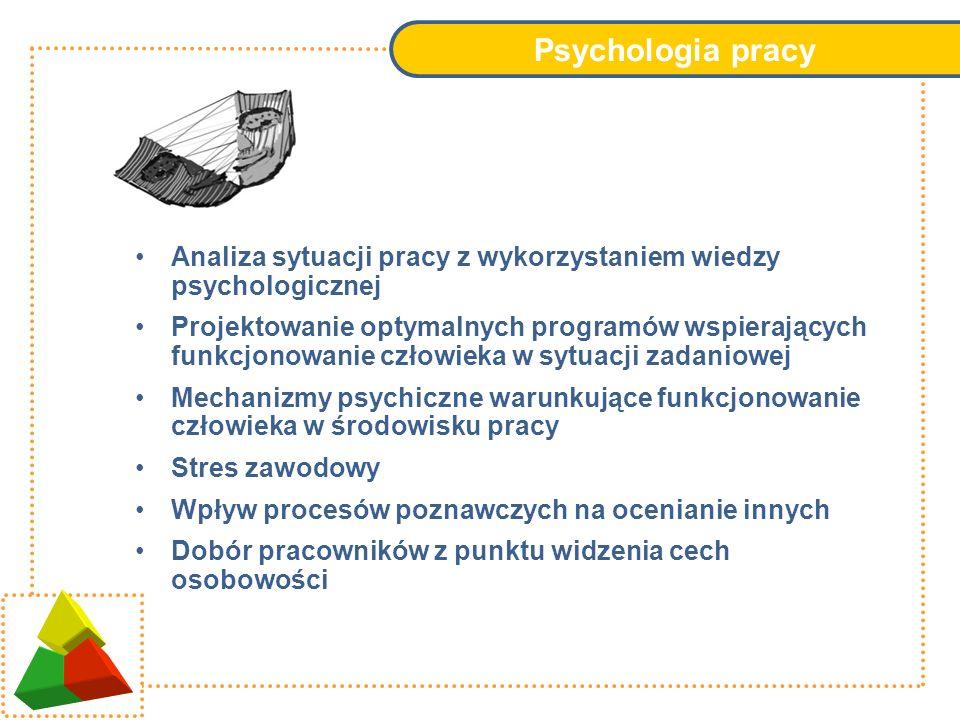 Psychologia pracy Analiza sytuacji pracy z wykorzystaniem wiedzy psychologicznej Projektowanie optymalnych programów wspierających funkcjonowanie czło