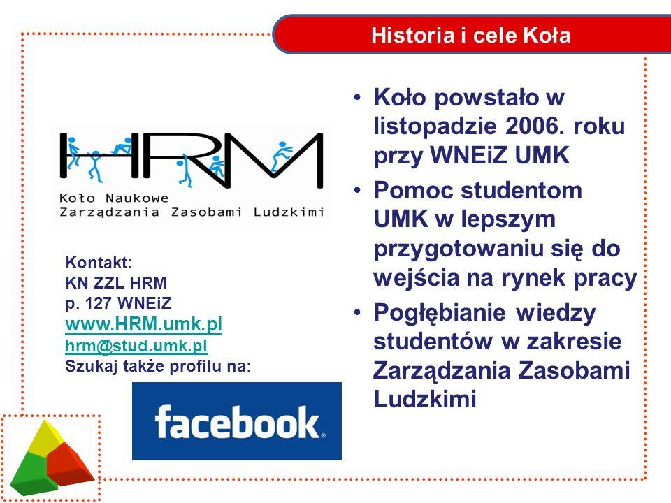Historia i cele Koła Koło powstało w listopadzie 2006. roku przy WNEiZ UMK Pomoc studentom UMK w lepszym przygotowaniu się do wejścia na rynek pracy P