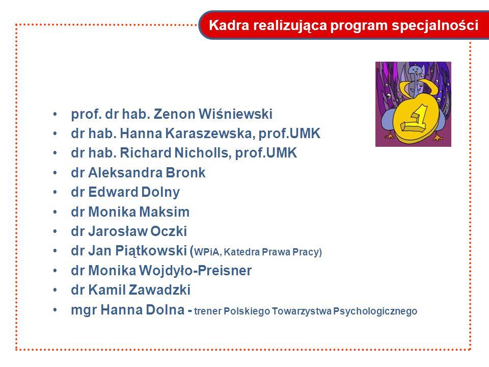 Kadra realizująca program specjalności prof. dr hab. Zenon Wiśniewski dr hab. Hanna Karaszewska, prof.UMK dr hab. Richard Nicholls, prof.UMK dr Aleksa