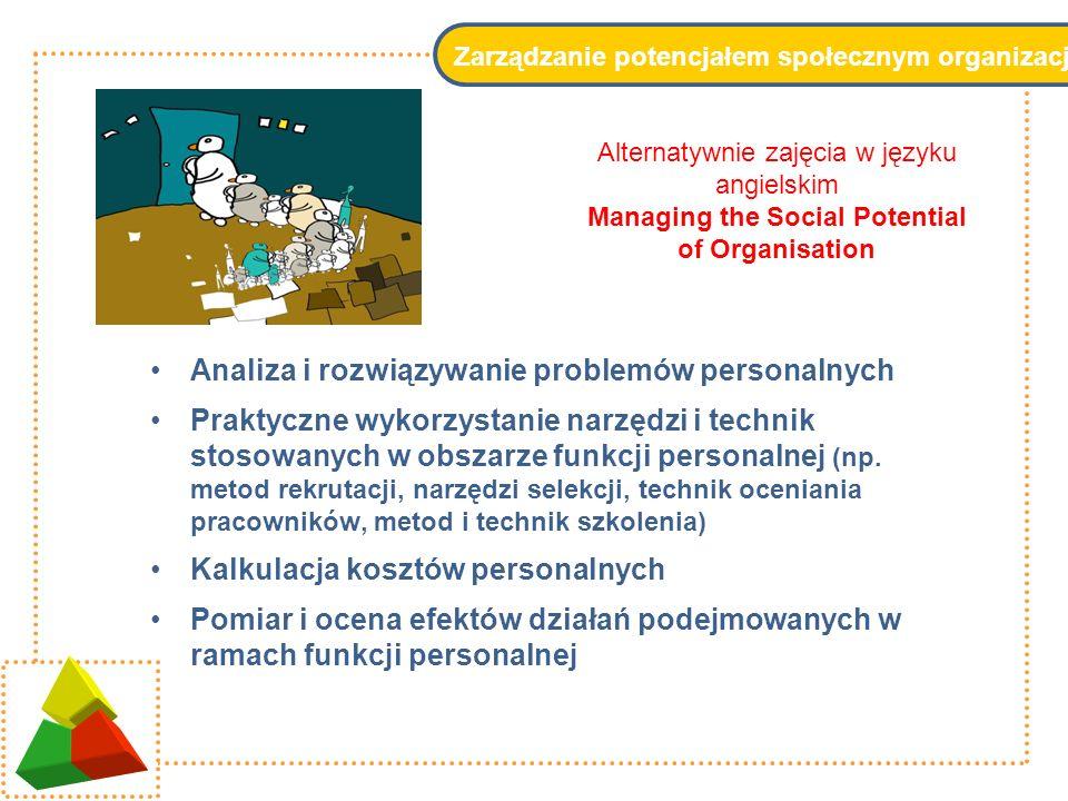 Zarządzanie potencjałem społecznym organizacji Analiza i rozwiązywanie problemów personalnych Praktyczne wykorzystanie narzędzi i technik stosowanych