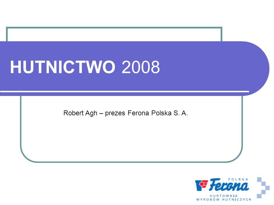 HUTNICTWO 2008 Robert Agh – prezes Ferona Polska S. A.