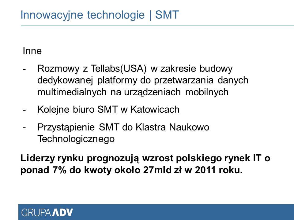 Innowacyjne technologie | SMT Inne -Rozmowy z Tellabs(USA) w zakresie budowy dedykowanej platformy do przetwarzania danych multimedialnych na urządzeniach mobilnych -Kolejne biuro SMT w Katowicach -Przystąpienie SMT do Klastra Naukowo Technologicznego Liderzy rynku prognozują wzrost polskiego rynek IT o ponad 7% do kwoty około 27mld zł w 2011 roku.