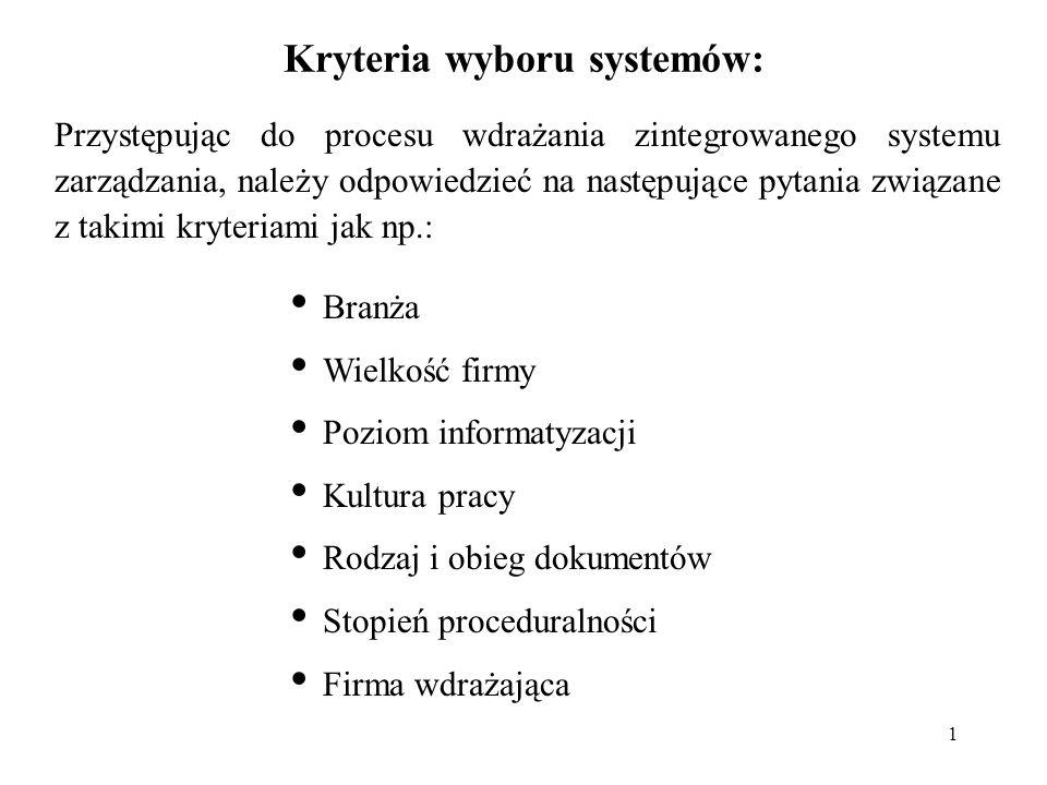 1 Kryteria wyboru systemów: Przystępując do procesu wdrażania zintegrowanego systemu zarządzania, należy odpowiedzieć na następujące pytania związane
