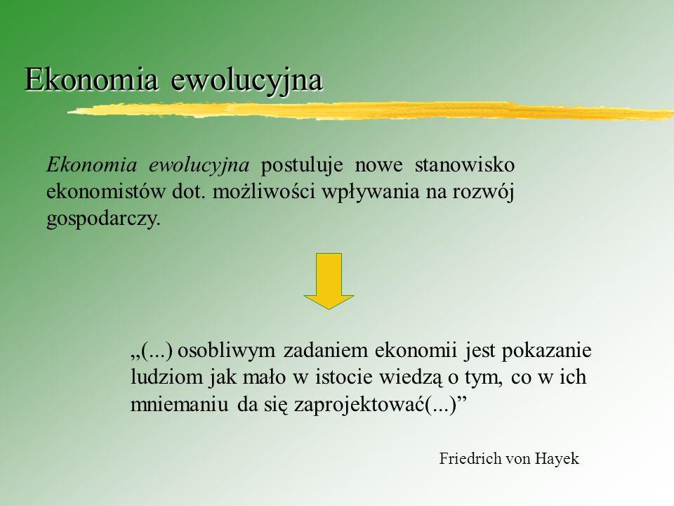 Ekonomia ewolucyjna Ekonomia ewolucyjna postuluje nowe stanowisko ekonomistów dot.