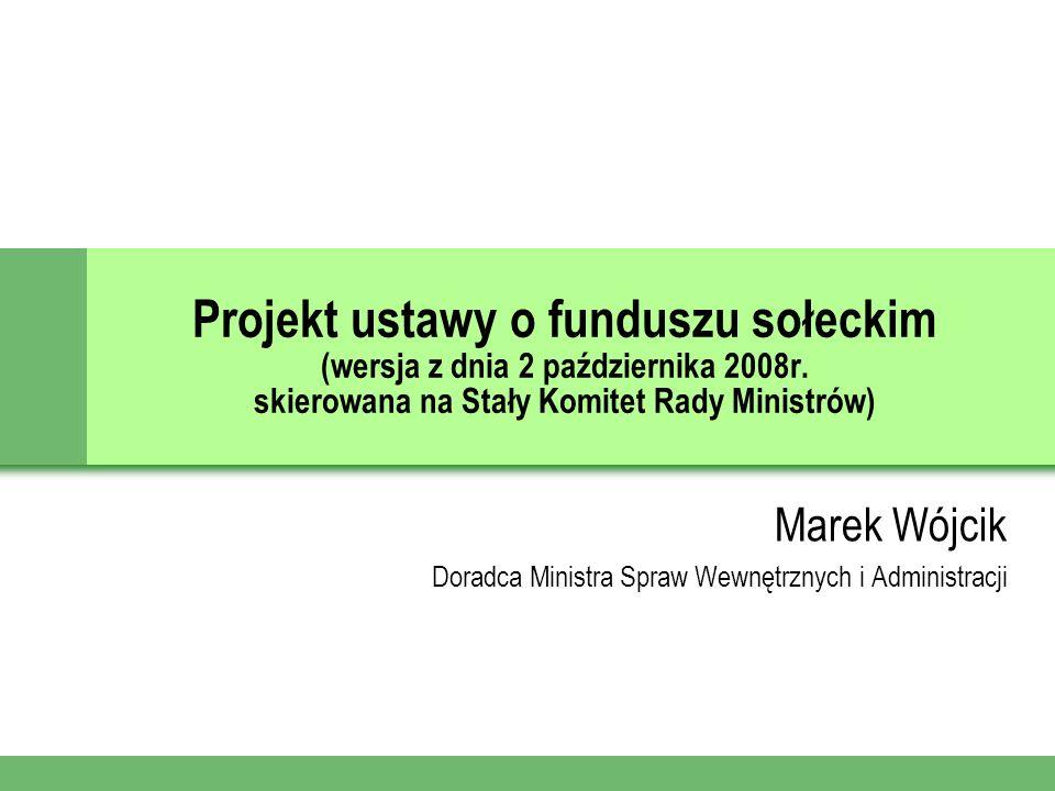 Projekt ustawy o funduszu sołeckim (wersja z dnia 2 października 2008r.