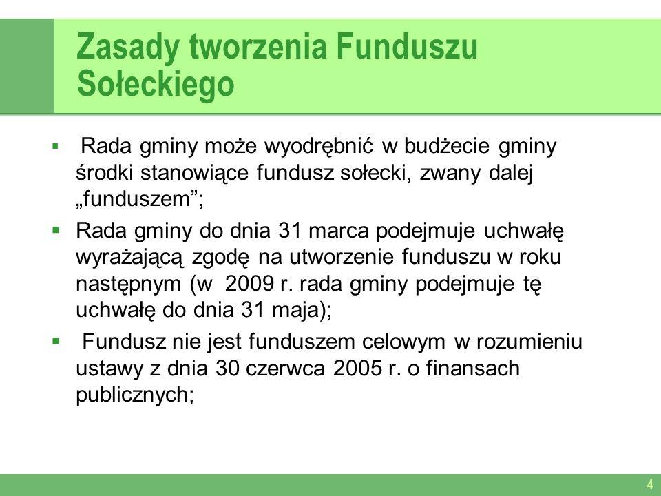 Zasady tworzenia Funduszu Sołeckiego Rada gminy może wyodrębnić w budżecie gminy środki stanowiące fundusz sołecki, zwany dalej funduszem; Rada gminy do dnia 31 marca podejmuje uchwałę wyrażającą zgodę na utworzenie funduszu w roku następnym (w 2009 r.