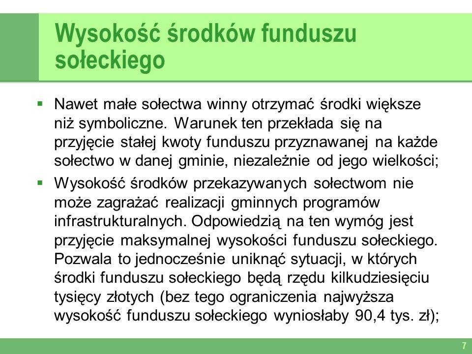 Wysokość środków funduszu sołeckiego Nawet małe sołectwa winny otrzymać środki większe niż symboliczne.
