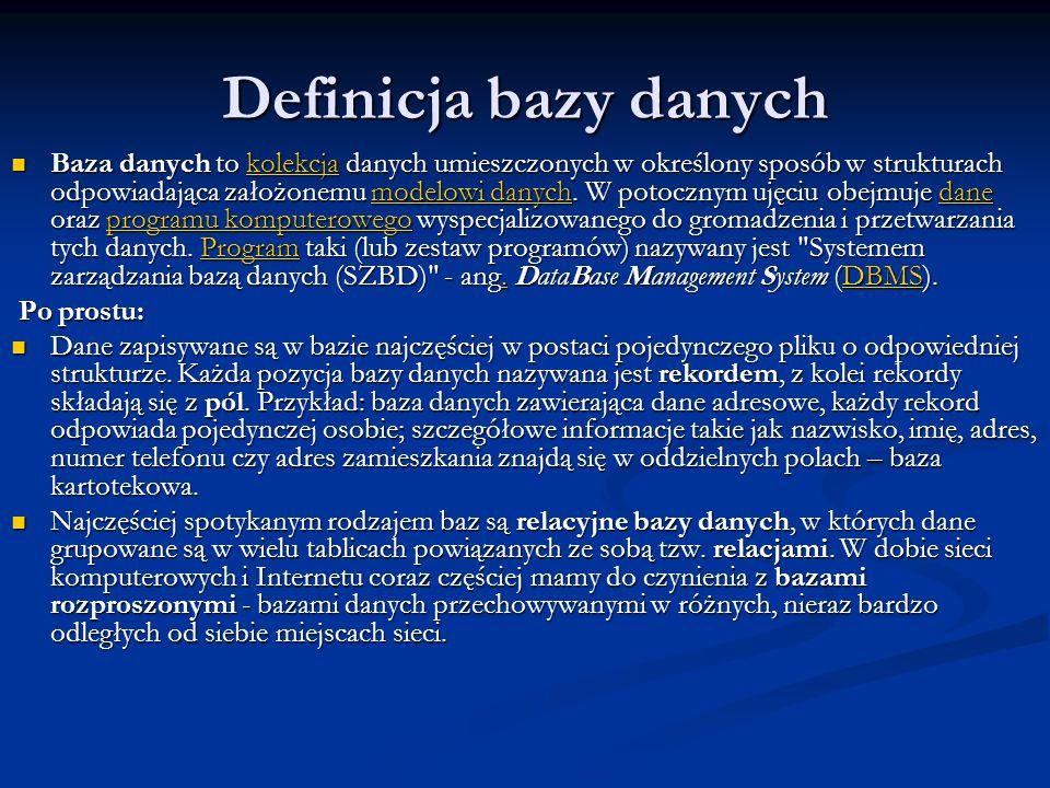 Definicja bazy danych Baza danych to kolekcja danych umieszczonych w określony sposób w strukturach odpowiadająca założonemu modelowi danych. W potocz