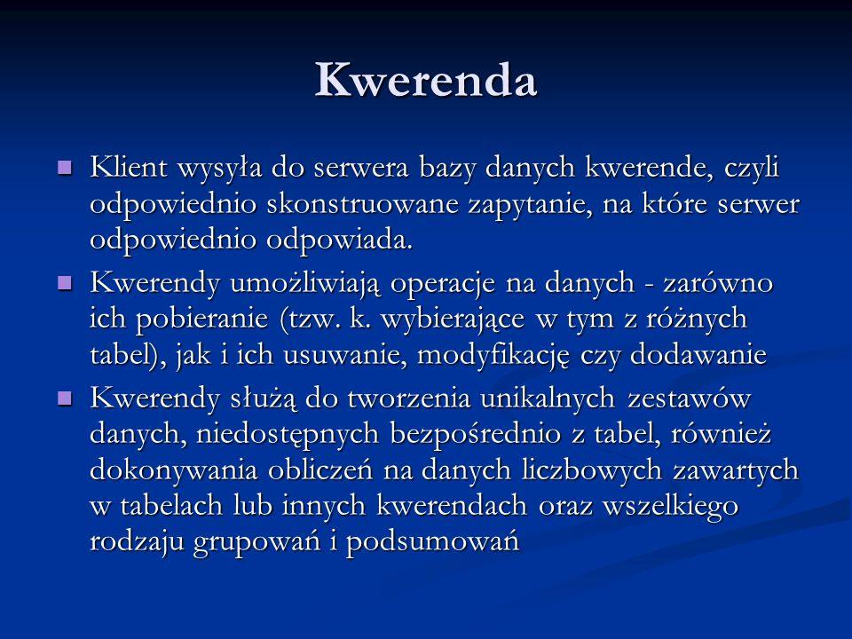 Kwerenda Klient wysyła do serwera bazy danych kwerende, czyli odpowiednio skonstruowane zapytanie, na które serwer odpowiednio odpowiada. Klient wysył