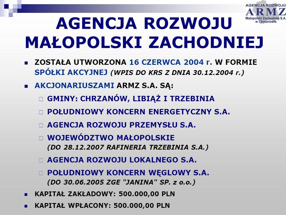 AGENCJA ROZWOJU MAŁOPOLSKI ZACHODNIEJ ZOSTAŁA UTWORZONA 16 CZERWCA 2004 r. W FORMIE SPÓŁKI AKCYJNEJ (WPIS DO KRS Z DNIA 30.12.2004 r.) AKCJONARIUSZAMI