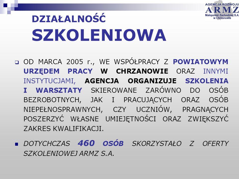 OD MARCA 2005 r., WE WSPÓŁPRACY Z POWIATOWYM URZĘDEM PRACY W CHRZANOWIE ORAZ INNYMI INSTYTUCJAMI, AGENCJA ORGANIZUJE SZKOLENIA I WARSZTATY SKIEROWANE