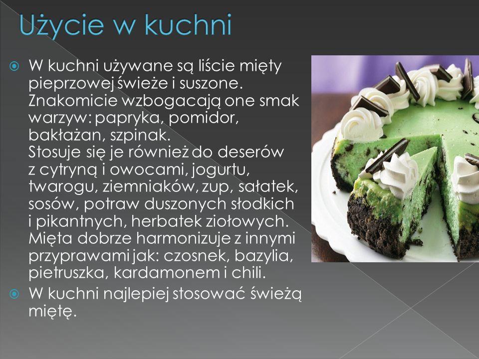 W kuchni używane są liście mięty pieprzowej świeże i suszone. Znakomicie wzbogacają one smak warzyw: papryka, pomidor, bakłażan, szpinak. Stosuje się