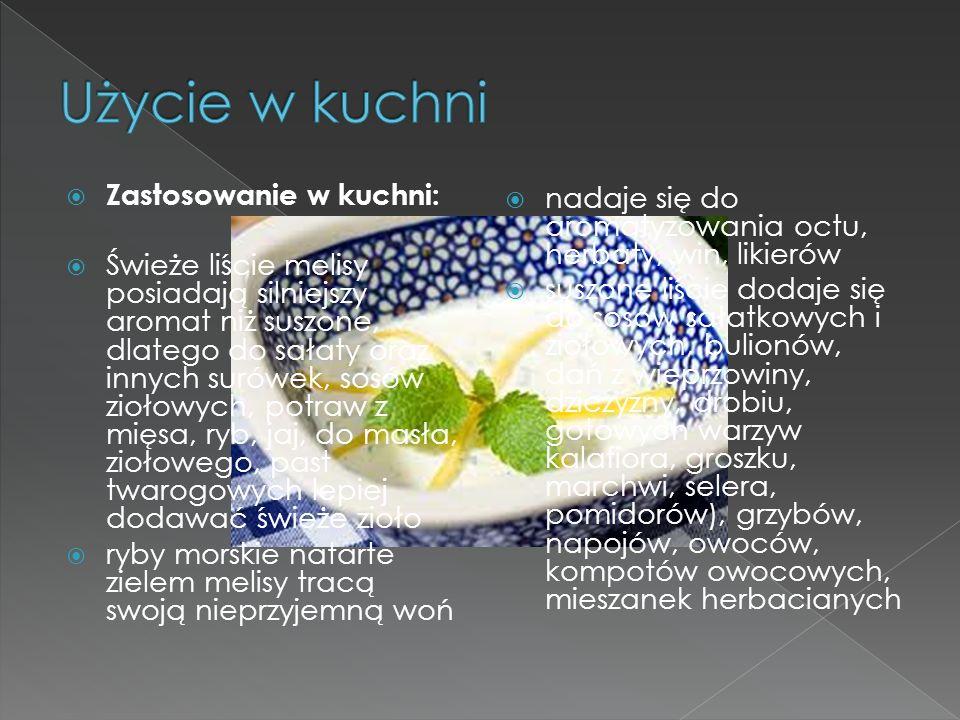 Zastosowanie w kuchni: Świeże liście melisy posiadają silniejszy aromat niż suszone, dlatego do sałaty oraz innych surówek, sosów ziołowych, potraw z