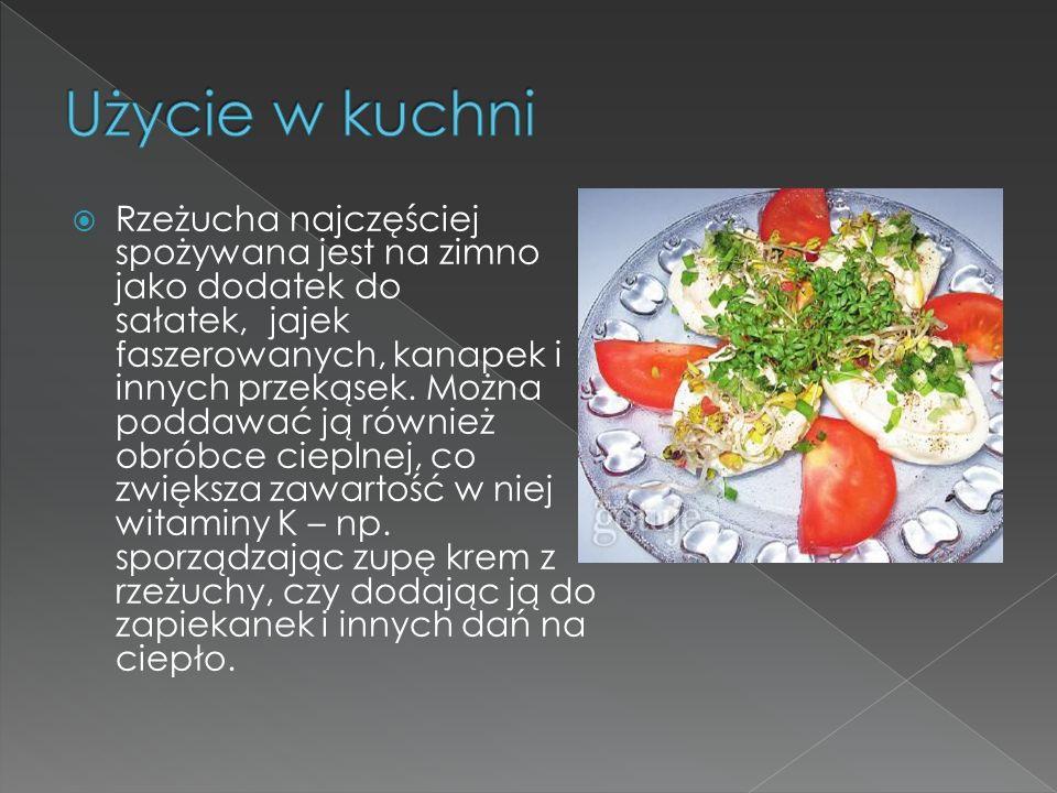 Rzeżucha najczęściej spożywana jest na zimno jako dodatek do sałatek, jajek faszerowanych, kanapek i innych przekąsek. Można poddawać ją również obrób