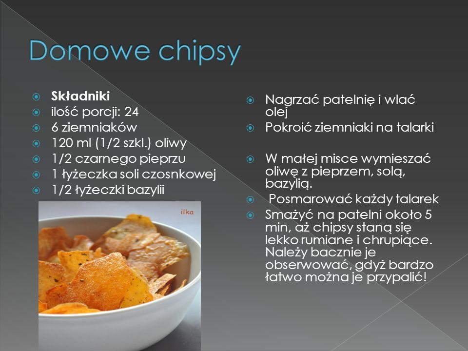 Składniki ilość porcji: 24 6 ziemniaków 120 ml (1/2 szkl.) oliwy 1/2 czarnego pieprzu 1 łyżeczka soli czosnkowej 1/2 łyżeczki bazylii Nagrzać patelnię