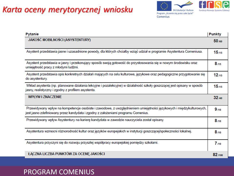 PROGRAM COMENIUS Karta oceny merytorycznej wniosku