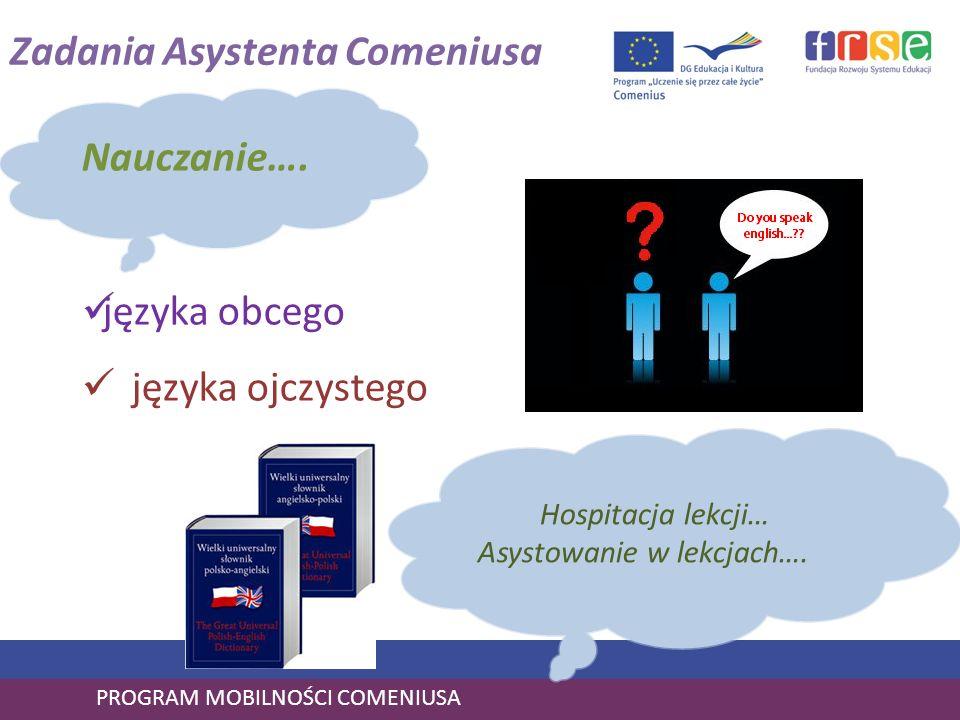 PROGRAM MOBILNOŚCI COMENIUSA Nauczanie…. języka obcego języka ojczystego Zadania Asystenta Comeniusa Hospitacja lekcji… Asystowanie w lekcjach….