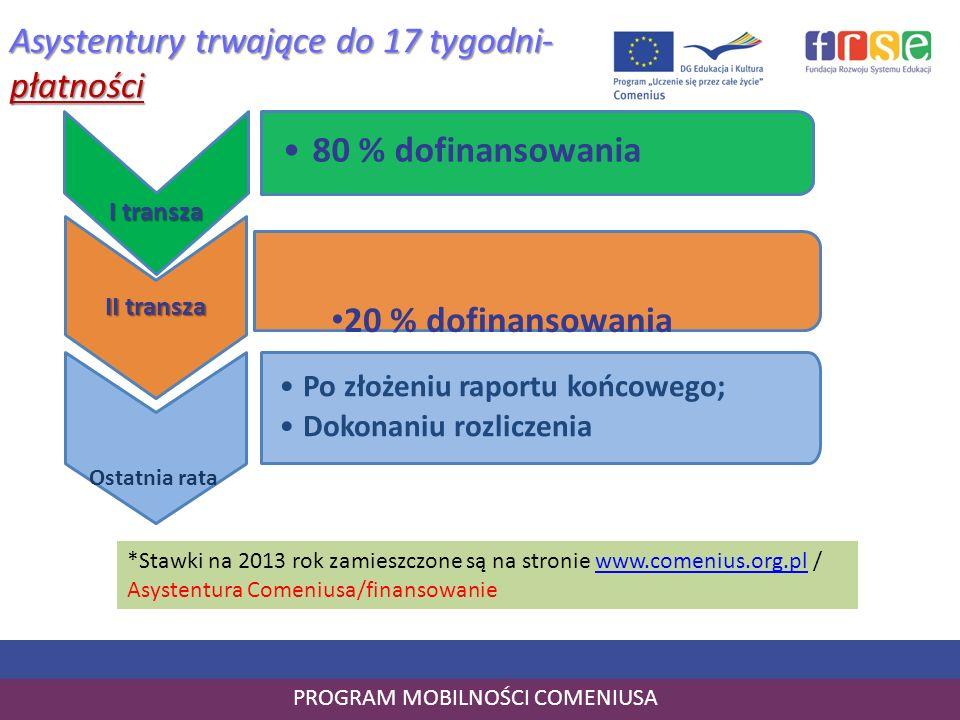 PROGRAM MOBILNOŚCI COMENIUSA Asystentury trwające do 17 tygodni- płatności I transza 80 % dofinansowania II transza Po złożeniu raportu końcowego; Dok