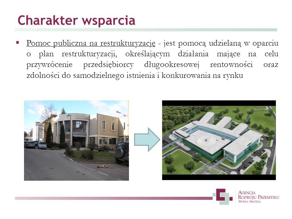 Charakter wsparcia Pomoc publiczna na restrukturyzację - jest pomocą udzielaną w oparciu o plan restrukturyzacji, określającym działania mające na cel