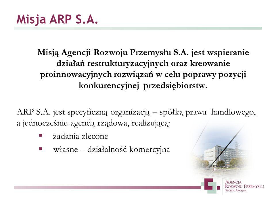 Misja ARP S.A. Misją Agencji Rozwoju Przemysłu S.A. jest wspieranie działań restrukturyzacyjnych oraz kreowanie proinnowacyjnych rozwiązań w celu popr
