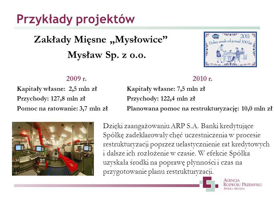 Przykłady projektów Zakłady Mięsne Mysłowice Mysław Sp. z o.o. Dzięki zaangażowaniu ARP S.A. Banki kredytujące Spółkę zadeklarowały chęć uczestniczeni