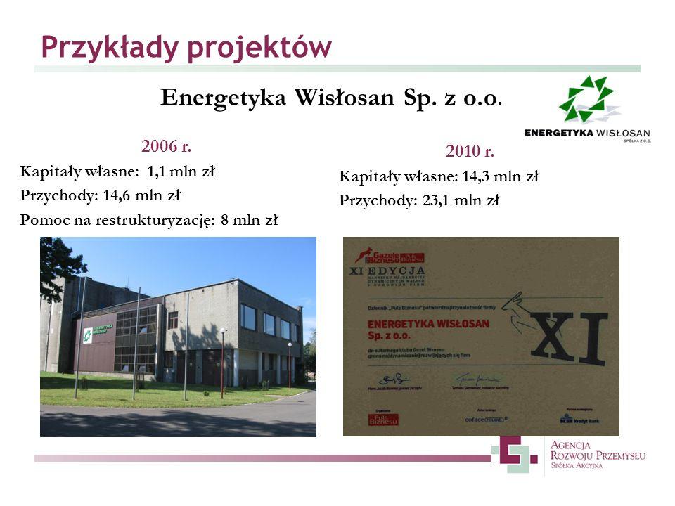 Przykłady projektów Energetyka Wisłosan Sp. z o.o. 2006 r. Kapitały własne: 1,1 mln zł Przychody: 14,6 mln zł Pomoc na restrukturyzację: 8 mln zł 2010
